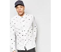 Air Moon Regulär geschnittenes Hemd mit Punktemuster Weiß