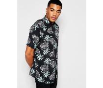 Hemd mit durchgehendem Pineapple-Print, reguläre Passform Schwarz