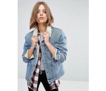 Jeansjacke mit Teddyfutter und Taschen in blauer Waschung Blau