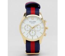Chronographenuhr mit weißem Ziffernblatt und gestreiftem Canvas-Armband Marineblau