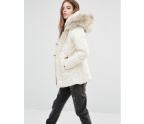 Alaska Wattierter Mantel mit kunstfellbesetzter Kapuze Weiß