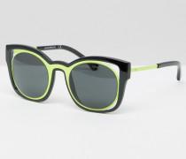 Katzenaugensonnenbrille mit Cut-out in gelber Kontrastoptik Schwarz