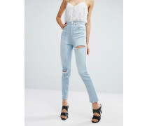 Deconstructed Schmale Mom-Jeans Blau