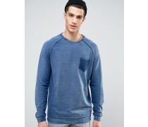 Sweatshirt in verwaschenem Denim-Look Marineblau
