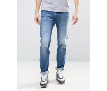 Belther 859R Schmale Stretch-Jeans in heller Waschung Blau