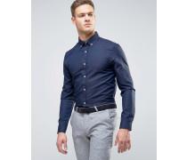 Elegantes, strukturiertes, schmales Hemd Marineblau