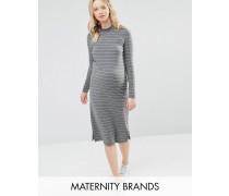 Mamalicious Gestreiftes, figurbetontes Jersey-Kleid mit hochgeschlossenem Ausschnitt Grau