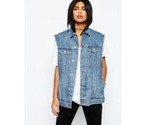 Girlfriend-Jeansweste in verwaschenem Mittelblau Blau