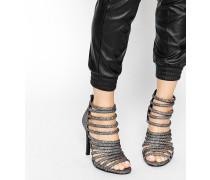 Absatz-Sandalen mit vielen Riemchen Mehrfarbig