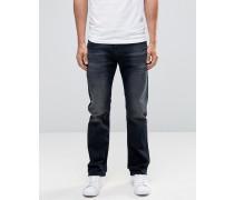 Waykee 858J Gerade Jeans mit Schliss in verwaschenem Schwarz Schwarz