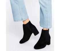 Chelsea-Stiefel mit mittelhohem Blockabsatz Schwarz