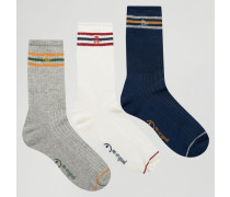 Retro-Sportsocken im 3er-Set Marineblau