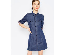 Gepunktetes Jeanskleid mit Knopfleiste Blau