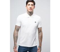 Slim Pique Polo Small Logo in White Weiß