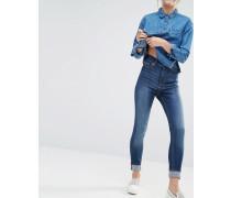 Gerade Jeans aus Bio-Baumwolle mit hohem Bund Blau