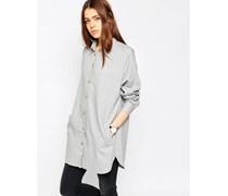 Oversized-Hemd aus weichem Twill Grau