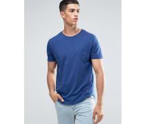 T-Shirt mit Bahnendesign, Tasche und abgerundetem Saum Blau