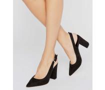 Sandalen mit Blockabsatz und Fersenriemen Schwarz