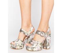 Brokat-Schuhe mit Plateauabsatz und Blumenmuster Rosa