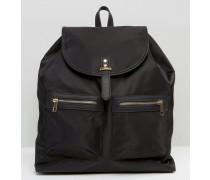 Nylon-Rucksack mit Taschen Schwarz