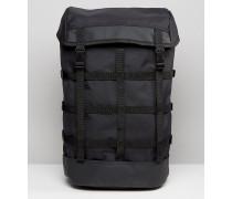 Nylon-Rucksack mit Riemen im Gitterdesign Schwarz