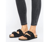 Double Buckle Slide Sandal Schwarz