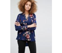 Bluse mit gemaltem Blumenmuster Mehrfarbig