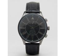 Uhr in verschiedenen Metalloptiken mit Armband in Kroko-Schwarz Schwarz