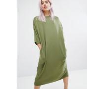 Oversized Midi T-shirt Dress Schwarz