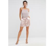 Satin-Shorts mit Taillenschnürung Rosa
