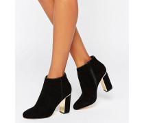 Ankle Boots mit Absatz mit Goldverzierung Schwarz