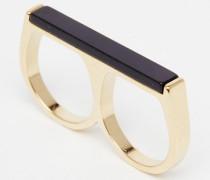 Vergoldeter, doppelter Ring mit Schienendesign Gold
