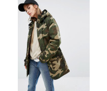 Oversized Smith Parka mit Kapuze in Camo-Print Grün