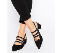 Spitze Schuhe mit mittelhohem Absatz und Fesselriemen Mehrfarbig