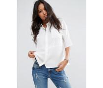Kastige Crinkle-Bluse Weiß