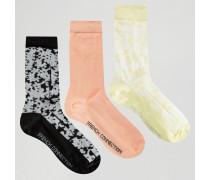 3er-Pack einfarbige und bedruckte Socken Mehrfarbig