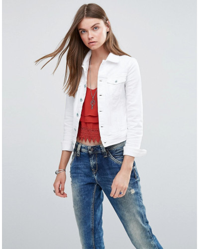 pepe jeans damen core jeansjacke wei 41 reduziert. Black Bedroom Furniture Sets. Home Design Ideas