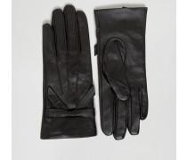 Handschuhe aus echtem Leder mit Schleife Schwarz