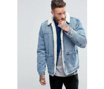 Vollständig gefütterte Jeansjacke in blauer Waschung Blau
