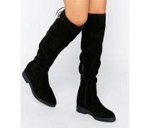 Darby Flache Overknee-Stiefel aus Wildleder Schwarz