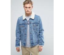 Jeansjacke mit Borg-Kragen in mittlerer Waschung Blau