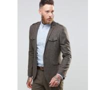 Schmal geschnittenes Tweed-Sakko im Military-Stil in Braun Braun