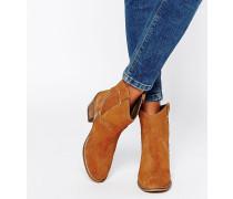 Hellbraune Cowboy-Stiefel aus Wildleder Bronze