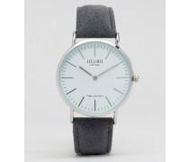 Uhr mit Wollarmband in Grau Grau