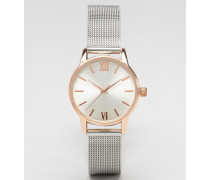 Uhr mit Armband aus Netzgewebe Silber
