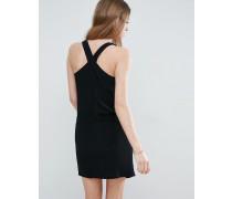 Kleid mit überkreuzten Trägern Schwarz