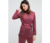 Gestreifte Pyjamajacke mit Paspelierung Rot