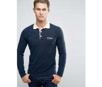 Schmal geschnittenes, langärmliges Polohemd in Marineblau mit kontrastierendem Kragen Marineblau