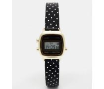 Kleine Digitaluhr mit gepunktetem Armband Schwarz