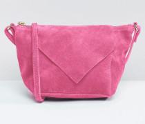 Umhängetasche aus Wildleder mit V-förmiger Umschlagklappe Rosa